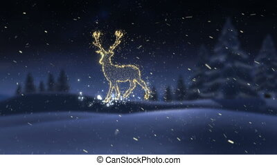 Glowing gold christmas reindeer in the snow against night ...