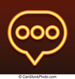 Glowing golden icon. Speech bubble.