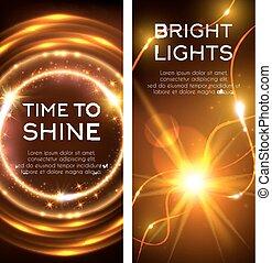 Glowing golden lights banner set design