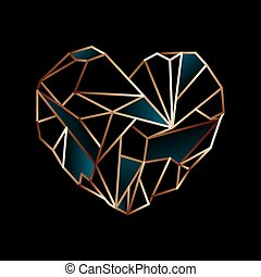 Glowing golden wire heart on black background