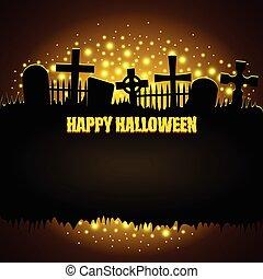 Glowing graveyard Halloween background