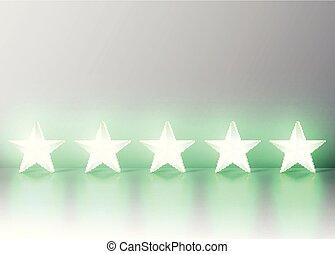 Glowing green 3D star rating, vector illustartion
