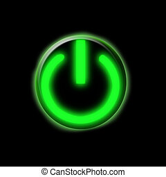 Glowing green button - Glowing green power on button