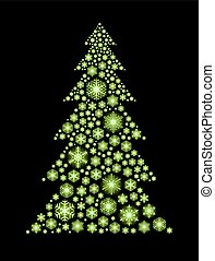 Glowing green snowflakes in the shape of Christmas tree.