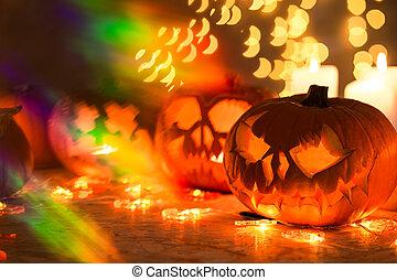Glowing Halloween pumpkin lanterns