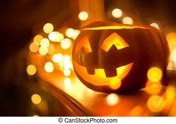 Glowing Halloween Pumpkin on Fireplace