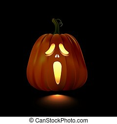 Glowing Halloween pumpkin with screaming face isolated on black background. Vector design element