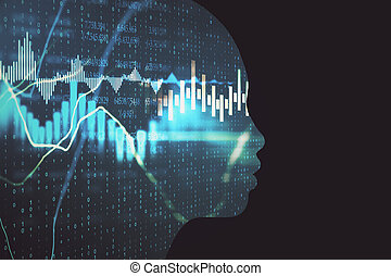 Glowing head outline with forex charts