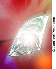 Glowing Car Headlight