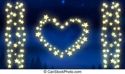 Glowing heart and strings of fairy lights on blue background