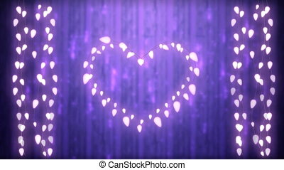 Glowing heart and strings of fairy lights on purple background