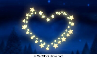 Glowing heart of fairy lights on blue background