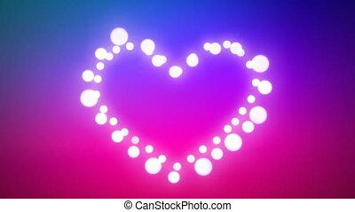 Glowing heart of fairy lights on purple background