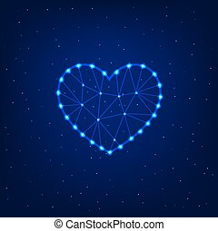 Glowing heart on a blue background.