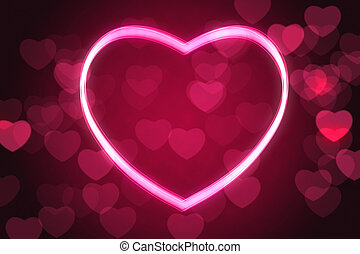 glowing heart shape with bokeh lights