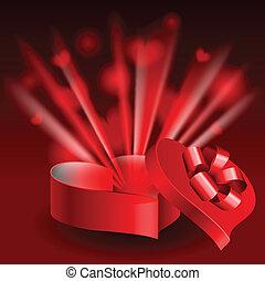 Glowing heart shaped box - Red glowing heart shaped box...