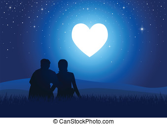 Glowing Heart - Silhouette illustration of a couple sitting...