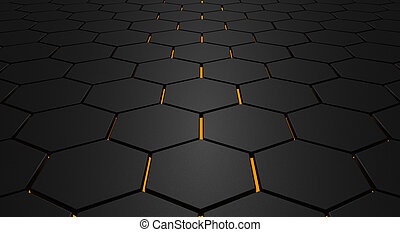 Glowing hexagon floor