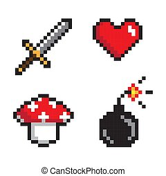 Glowing Icons of Heart and Sword Bomb and Mushroom