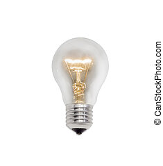 Glowing incandescent lamp on a light background