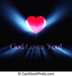 Glowing inscription God Loves You on black background.