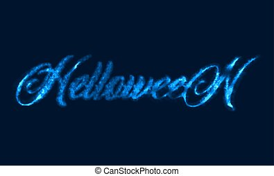 glowing inscription of Halloween with Neon light