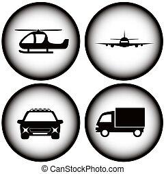 glowing, jogo, transporte, ícones