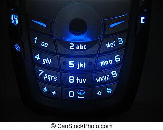 Glowing keypad - A blue backlight glowing keypad of a Nokia...
