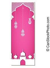 Glowing lamp on Eid ul Adha background - vector illustration...