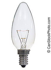 Glowing lamp on white background, with clipping path