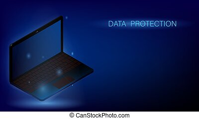 Glowing laptop floating in the air. Online concept, protection of personal data on the network. Information Security. Dark blue banner, template. Vector