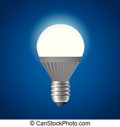 Glowing LED light bulb - modern vector realistic isolated illustration
