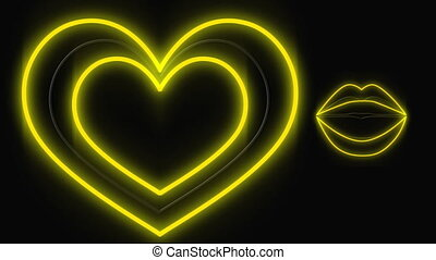 Glowing led lights of heart and lips