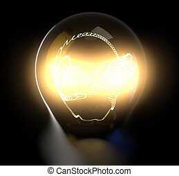 Glowing light bulb body with detailed filament.