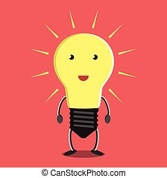 Glowing light bulb character on red background. Idea, insight, solution, inspiration, eureka, success and aha moment concept. EPS 8 vector illustration, no transparency