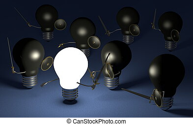 Glowing light bulb fighting against many black ones on blue