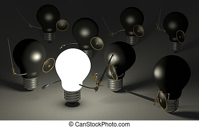 Glowing light bulb fighting against many black ones on gray