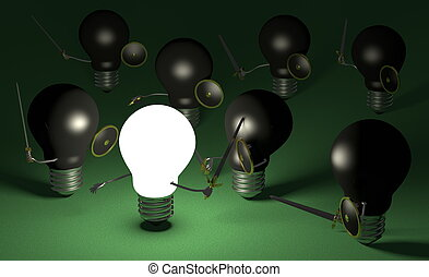 Glowing light bulb fighting against many black ones on green
