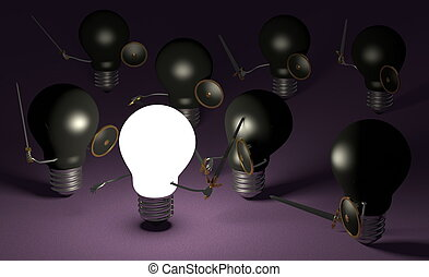 Glowing light bulb fighting against many black ones on violet