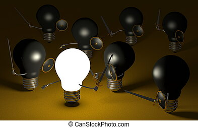 Glowing light bulb fighting against many black ones on yellow