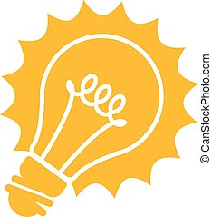 Glowing light bulb icon - idea conc