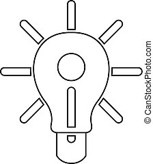 Glowing light bulb icon outline