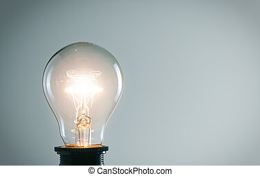 Glowing light bulb. Idea concept