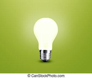 glowing Light bulb idea on green background