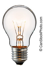 Glowing light bulb isolated on whit