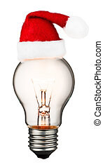 Glowing light bulb isolated on white background