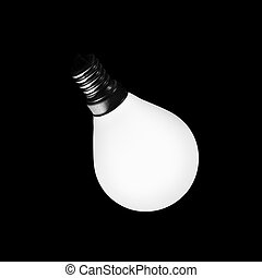 glowing light bulb on a black background