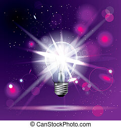 Glowing light bulb, The background is purple.