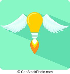 Glowing Light Bulb with Angel Wings and a Flame.