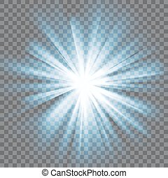 White glowing light. Bright shining star. Bursting explosion. Transparent background. Rays of light. Glaring effect with transparency. Abstract glowing light background. Vector illustration.
